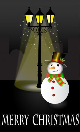 уличный фонарь: Снеговика стоит под фонарем в Рождественский вечер иллюстрации