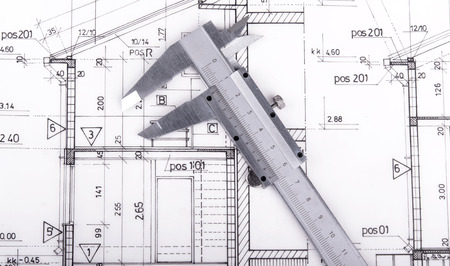 drafting tools: Architect project drawing Stock Photo