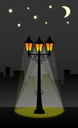 sky lantern: lanterne lampadaire avec ciel de la nuit avec la lune et les �toiles rue