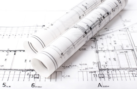 Architect project drawing blueprint Archivio Fotografico
