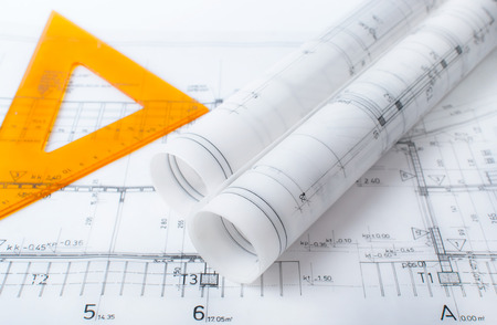 architect drawing: Architect project drawing blueprint Stock Photo