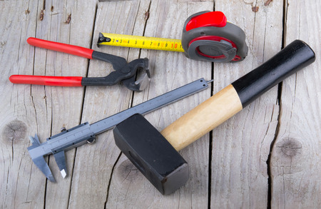 builder Tools on old wood photo