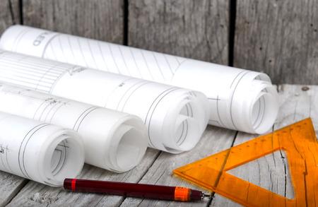 건축은 건축 계획 프로젝트 건축가의 청사진 롤