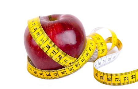 테이프를 측정 사과 체중 감량 사진을 감싸 스톡 콘텐츠