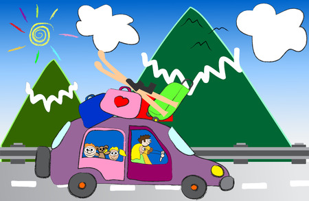 cartoon family trip to the mountains vector illustration Vector