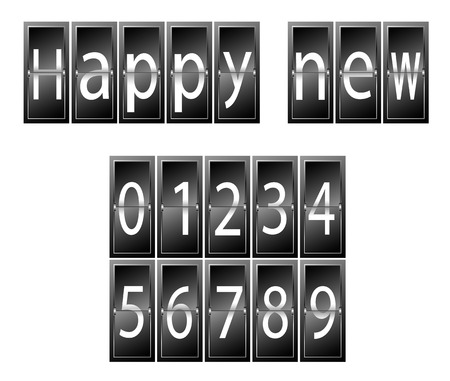 time table: Happy New Year Set of numbers time table vector illustration