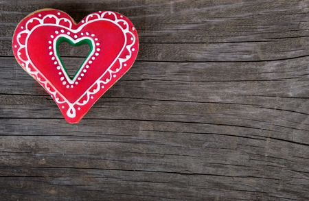 christmas gingerbread heart shape valentines day love cookie Stock Photo