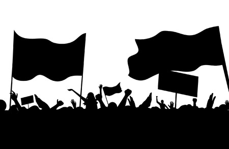 riots: protesters riots workers on strike crowd music concert vector illustration