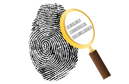cia: fingerprint with magnifying glass and binary code security vector illustration