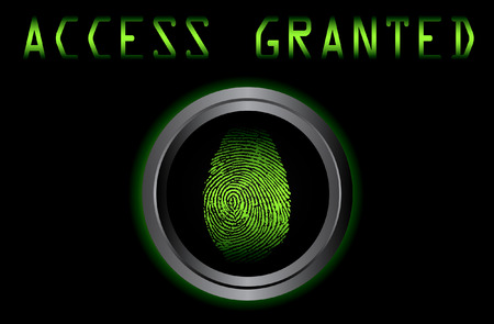 granted: fingerprint on scanner access granted vector illustration Illustration