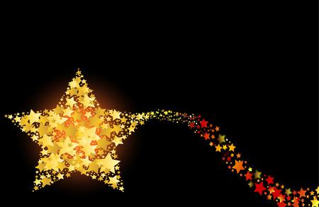 gilt: blazing abstract comet shooting gold star vector illustration