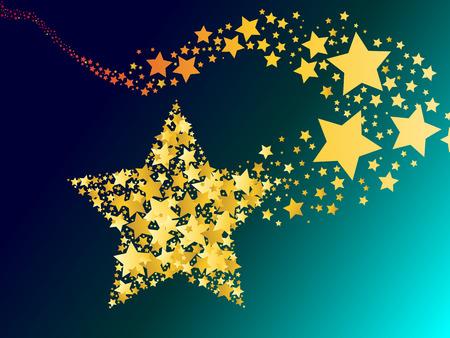 estrellas de navidad: ardiente cometa abstracto disparar oro ilustraci�n vectorial estrella Vectores