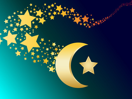 relegion: muslim gold star and crescent vector illustration Illustration