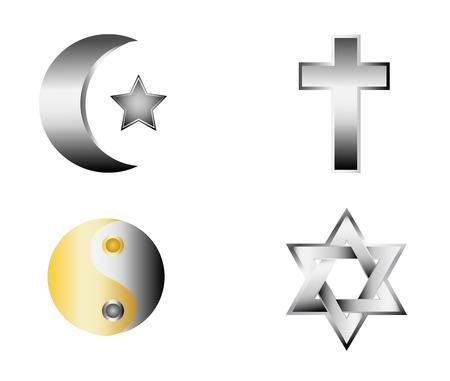 glossy religion icons vector illustration Illustration