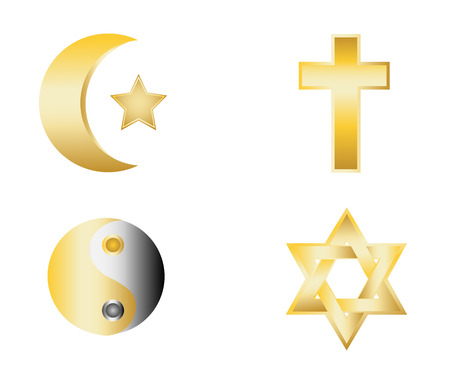 glossy religion icons vector illustration Illustration