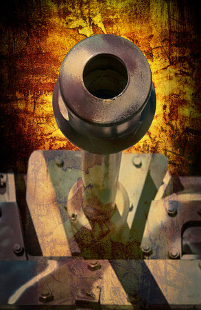 barrel bomb: abstract close up of a military tank in camouflaged colors down the barrel