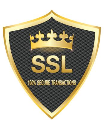 SSL 보호 보안 골드 쉴드 벡터 일러스트 아이콘