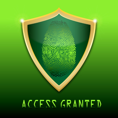 access granted: Fingerprint on scanner access granted vector illustration