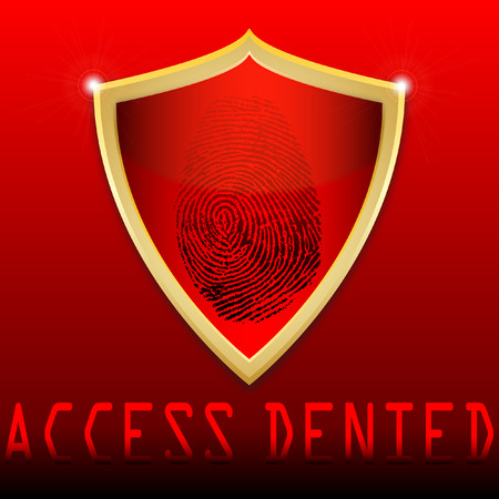 denied: Fingerprint on scanner access denied vector illustration Illustration