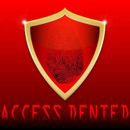 denied: Huella digital en el acceso negado esc�ner ilustraci�n vectorial Vectores