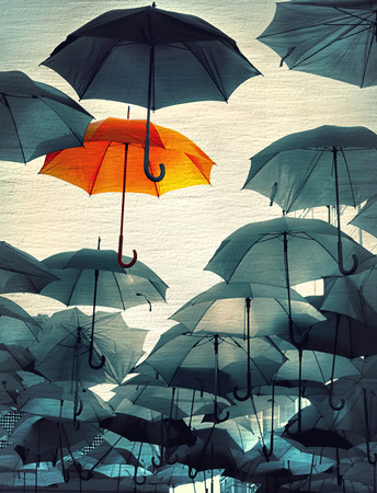 self esteem: umbrella standing out from the crowd vintage effect photo