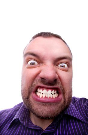 expresiones faciales: airado joven cara divertida