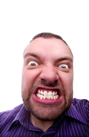 anger management: angry young man funny face Stock Photo