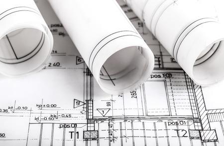 bouwsector Architectuur rolt architecturale plannen project architect blauwdrukken onroerend goed concept Stockfoto