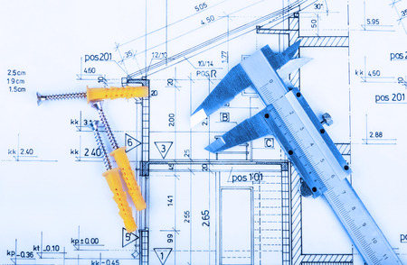 technical drawing: Architecture rolls architectural plans project architect blueprints real estate concept Stock Photo