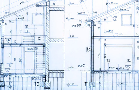 architect: Architecture rolls architectural plans project architect blueprints real estate concept Stock Photo