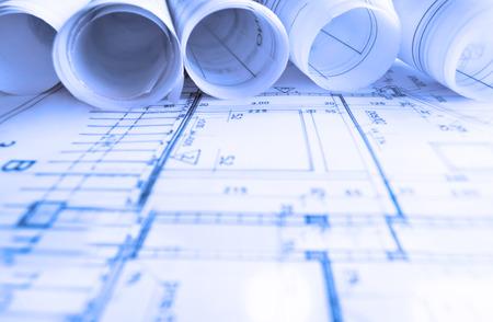 blueprint: Architecture rolls architectural plans project architect blueprints real estate concept Stock Photo