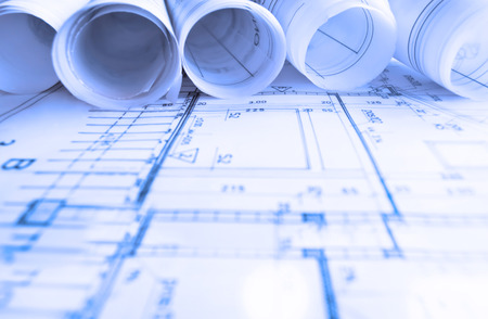 Architecture rolls architectural plans project architect blueprints real estate concept Archivio Fotografico