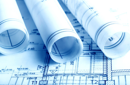 Architecture rolls architectural plans project architect blueprints real estate concept Stock Photo