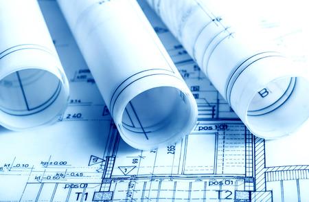 Architecture rolls architectural plans project architect blueprints real estate concept Standard-Bild