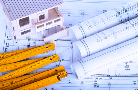 architecture: construction industry Architecture rolls architectural plans project architect blueprints real estate concept