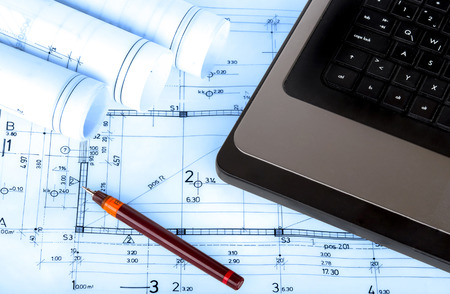 industry architecture: construction industry Architecture rolls architectural plans project architect blueprints real estate concept