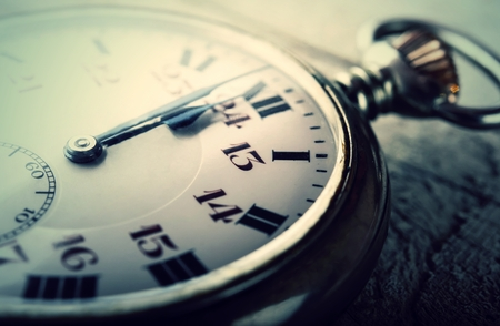 vintage pocket watch clock striking midnight happy new year 스톡 콘텐츠