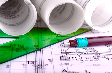 Architecture roule plans architecturaux techical projet plans de l'architecte Banque d'images - 47672492