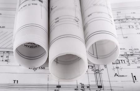 건축은 건축 techical 계획 프로젝트 건축가의 청사진 롤 스톡 콘텐츠 - 47672494