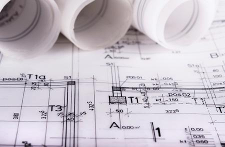 アーキテクチャ ロール建築技術的な計画プロジェクトの建築家の設計図
