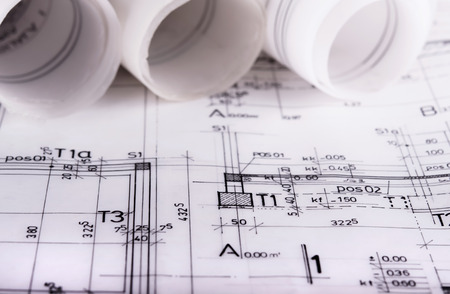 건축은 건축 techical 계획 프로젝트 건축가의 청사진 롤 스톡 콘텐츠 - 47672497