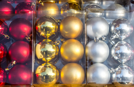 Christmas balls in box sale stand 스톡 콘텐츠