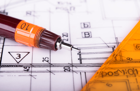 architectural plans project architect blueprints 스톡 콘텐츠