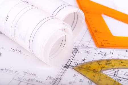 Architect project drawing blueprint 版權商用圖片