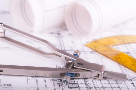 Architect project drawing blueprint 스톡 콘텐츠