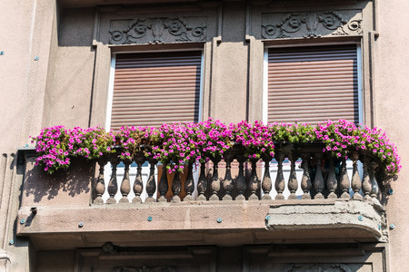 old balcony with flower pots 스톡 콘텐츠