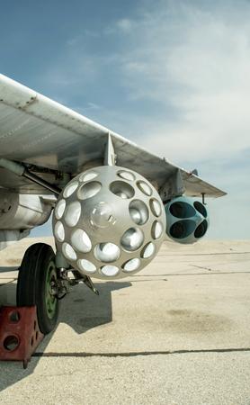 russian aircraft mig 29 wing and machine gun