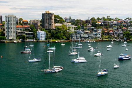 sydney port with buildings and boats 스톡 콘텐츠