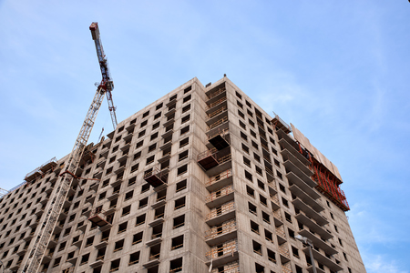 Construction of residential buildings of new neighborhoods.  the process of building a multi-storey residential building.