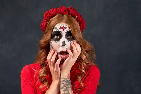 Day of dead holiday. Halloween. People in costume Stock Photo